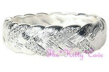 Silver Rhodium Pltd Textured Braided Hinged Bangle Bracelet w/ Swarovski Crystal