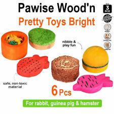 Pet Hamster Rabbit Guinea Pig Chew Toys Natural Bright Colors Toys 6 Pcs