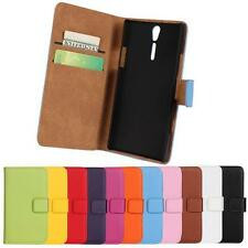 Luxury Genuine Leather Flip Stand Case Wallet Cover For Sony Xperia S Lt26i