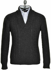 HARDY AMIES LONDON Wool Cabled Shawl Collar Sweater X-Large XL Charcoal $495