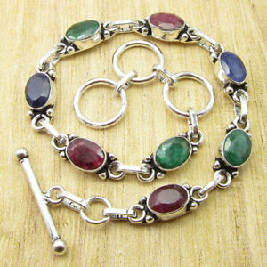 """Simulated Ruby, Emerald, Sapphire NEW Bracelet 8"""" Silver Plated Jewellery NEW"""