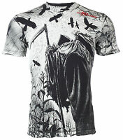 AFFLICTION Men T-Shirt CORN REAPER Tattoo BLACK Motorcycle Biker Gym $58 NWT
