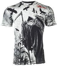 Affliction Mens S/S T-Shirt CORN REAPER Tattoo BLACK Biker Vintage S-3XL $58