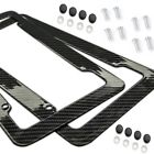 Plastic Carbon Fiber Style License Plate Frames For Front & Rear Braket 2pc Set