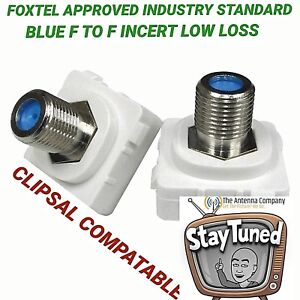 F Type to F Plug Connector for Custom Clipsal Wall Plate x2 RG6 QUAD UHF FOXTEL