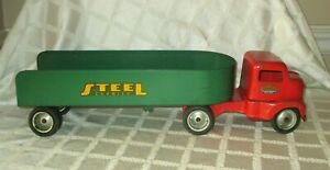 1953 TONKA NO.145- CAB OVER -STEEL CARRIER SET- ALL ORG- PRESSED STEEL TOY