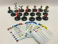 Lot of 18 Heroclix Marvel Miniature Figures & 20 Cards X-Men 2014 Game Pieces