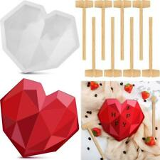 Diamond Heart-shaped Silicone Cake Mould With Mini Wooden Hammer Baking Tools