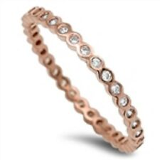 ROSE GOLD Plated 925 Brilliant Cut Alluring Ring Stackable Size 6 7 8 9 L N P R