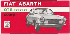FIAT ABARTH OTS 1000 COUPE SALES BROCHURE PROSPEKT OVERVIEW SPECIFICATION SHEET