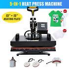 5-in-1 T Shirt Press Professional 360 Swing-Away Heat Press Machine 15x15 Inch