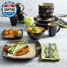 16-Piece Dinnerware Set Square Dinner Plates Bowls & Mugs Stoneware 4-Serving