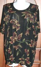 KATHY IRELAND Womens Size 3X Blouse Black Multi-Color Floral