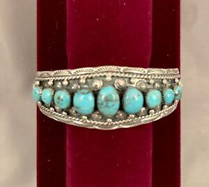 Navajo Handmade Sterling Silver & Kingman Turquoise Bracelet