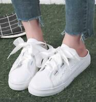 Women Chic Mules Round Toe Slippers Lace Up Canvas Sneaker Slip on Shoes Loafers