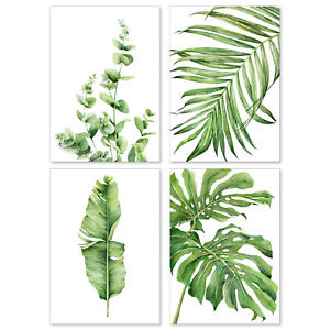 A&M Natural Living Watercolour Botanical Art Prints Posters Picture Set Of 4