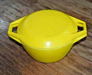 Cast Iron Copco D1 Denmark Casserole Oven Vintage Yellow Retro with lid