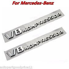 2Pcs Silver V8 KOMPRESSOR Car Side Fender Emblem Badge Sticker Letters for Benz