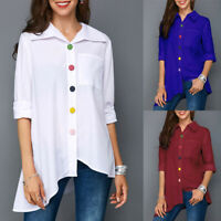Plus Size Women's White Shirt Tops Office Women Blouse Long Sleeve Summer Tunic