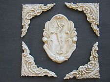 CHIC DECORATIVE FRENCH COUNTRY VINTAGE ROSE BURST FURNITURE// FIREPLACE MOULDINGS
