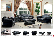 Versace Living Room 6 Piece Set Package in Black Italian Leather