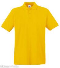 3 x Fruit of the Loom Premium 100% Cotton Polo T Shirt  S - XXXL 13 Colours
