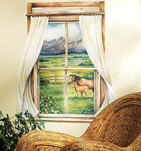 WALLIES GRAZING PASTURES SCENIC WINDOW wall stickers MURAL horses fence trees