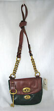 NEW FOSSIL MASON FOREST/GREEN+BROWN LEATHER,BRASS CROSSBODY/HAND BAG+MULTI-FLAP