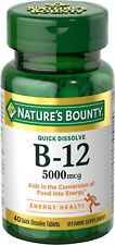 Nature's Bounty Vitamin B12 5000 mcg Quick Dissolve Tablets, Cherry 40 Ct