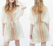 Zara Boho robe M 38 40 One size tunique broderie franges Ethnic Dress