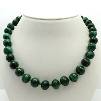 "Natural Green Malachite Graduated Bead Silver Tone Necklace 22"""