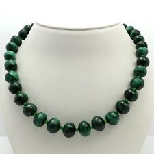 "Silver Tone Necklace 22"" Natural Green Malachite Graduated Bead"