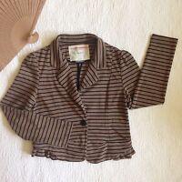Cartonnier Anthropologie Blazer Brown Black Stripe Knit 1-Button Peplum Ruffle S