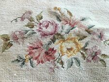 """Vintage Needlepoint Fabric Upholstery Chair Footstool Cushion Wall Art 22"""" X 17"""""""
