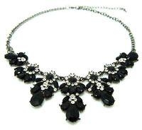 Women Crystal Flower Statement Pendant Chunky Chain Choker Bib Necklace Jewelry