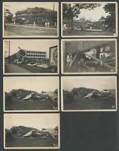 Philippines: Lot Seven 1920s RPPC Real Photo Postcards TYPHOON DAMAGE IN MANILA