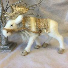 Brillo Blanco Invierno Alce Decoración de Navidad Vintage Reno Ciervo nórdico