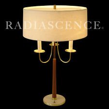 GERALD THURSTON LIGHTOLIER ATOMIC MODERN CANDELABRA BRASS WALNUT TABLE LAMP 1955
