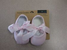 Baby Girl Ballet Shoes PINK Satin Ribbon Ties Size 0 New Faded Glory