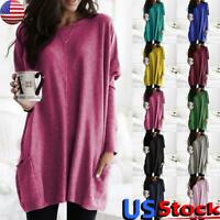 Women Long Sleeve Loose Pullover Tops Ladies Casual Baggy T-Shirt Sweater Jumper