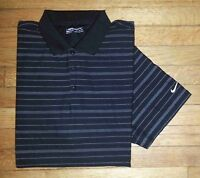Nike Golf Shirt Golf Polo XXL Black White Stripes Nike FITDRY c1359