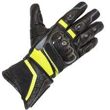 Guantes de color principal amarillo de cuero para motoristas