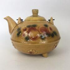 "Vintage Coffee Tea Pot Lid Brown Daisy Fruit Metal Handle Retro 5.5�T X 7.5""W"