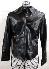 VAKKO New York Black Soft Lamb Leather Sleek Button Jacket L