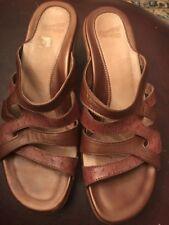 Dansko Roz 38  Brown Calf Leather Orttich Embossed Strappy Sandels