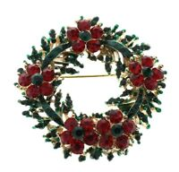 Holiday Flower Wreath Rhinestone Pin Brooch Broach Brooch with Pendant Hook