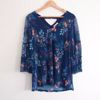 TABLE EIGHT Navy Colourful Floral Print Crinkle Ruffle Blouse Top Size S 10-12