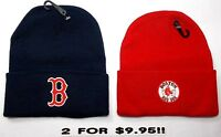 READ LISTING! Boston Red Sox HEAT Applied Flat Logos on 2 Beanie Knit Cap hat!!