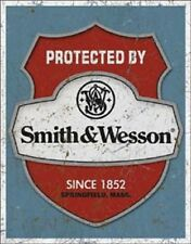 Protected By Smith And Wesson Novelty TIN SIGN Vintage Metal Gun Poster Decor