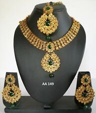 Wedding Bridal Necklace Earrings Sets Indian Fashion Kundan Gold Green Jewelry